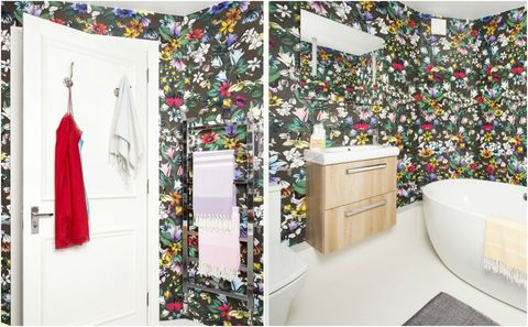 Bold Floral Wallpaper As Part Of Bathroom Makeover