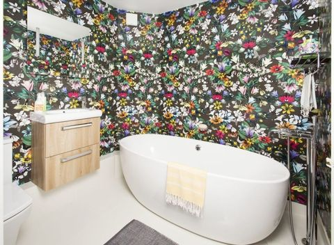You Need To See This Bold Bathroom Makeover With Floral Wallpaper