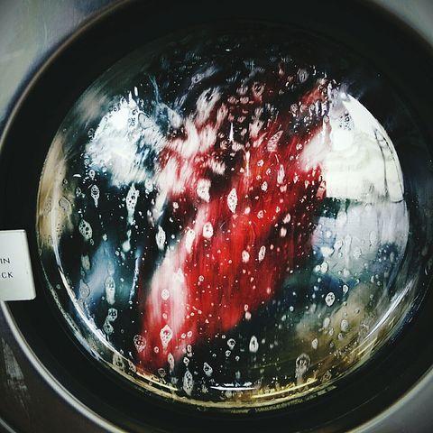 Close-Up Of Window On Washing Machine