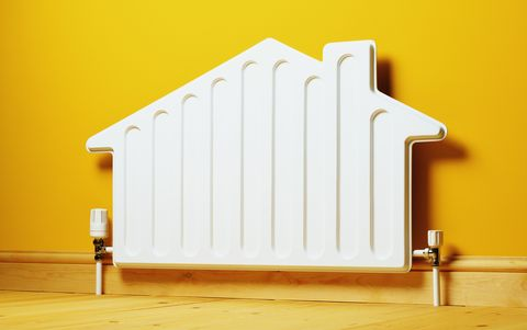 House shaped radiator on wall