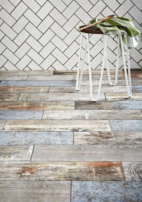 Reclaimed wood-effect floor tiles, Walls and Floors