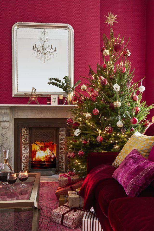 December/January House Beautiful Cover   Christmas Living Room Decorating  Scheme With Traditional Red And