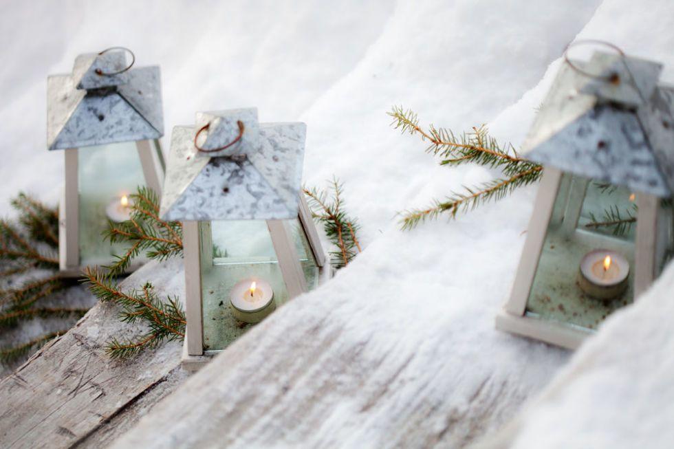 Lantern In A Winter Garden