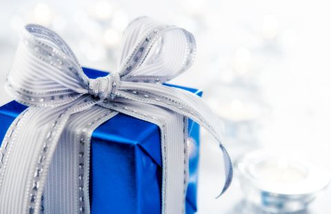 Gift in blue wrapping paper