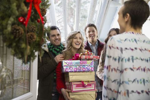 Guests arriving with Christmas gifts