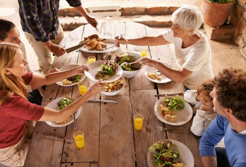 A view of a family preparing to eat lunch together