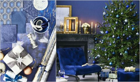 Blue Christmas decorating scheme and moodboard