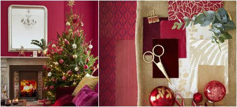 Christmas Living Room Decorating Scheme Traditional Red And Gold
