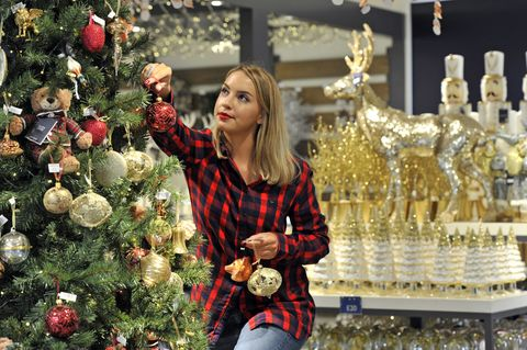 Christmas tree and decorations at a John Lewis store