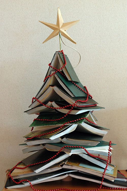 Christmas trees made out of books