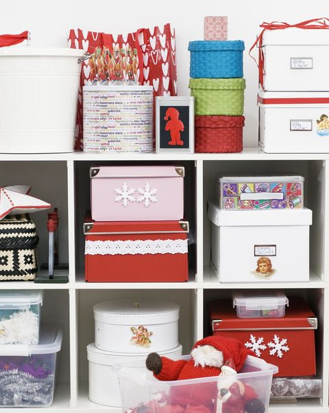 christmas gifts and decorations on shelf