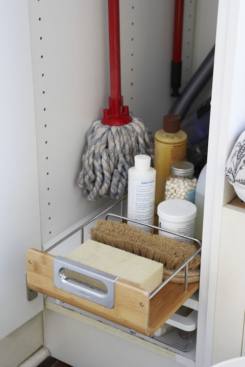 Cleaning Supplies in Cupboard