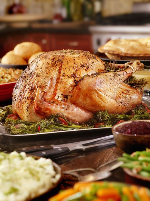Turkey at Christmas with stuffing and fixings.