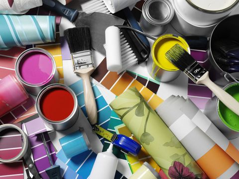 Paints and wallpaper with decorating equipment.