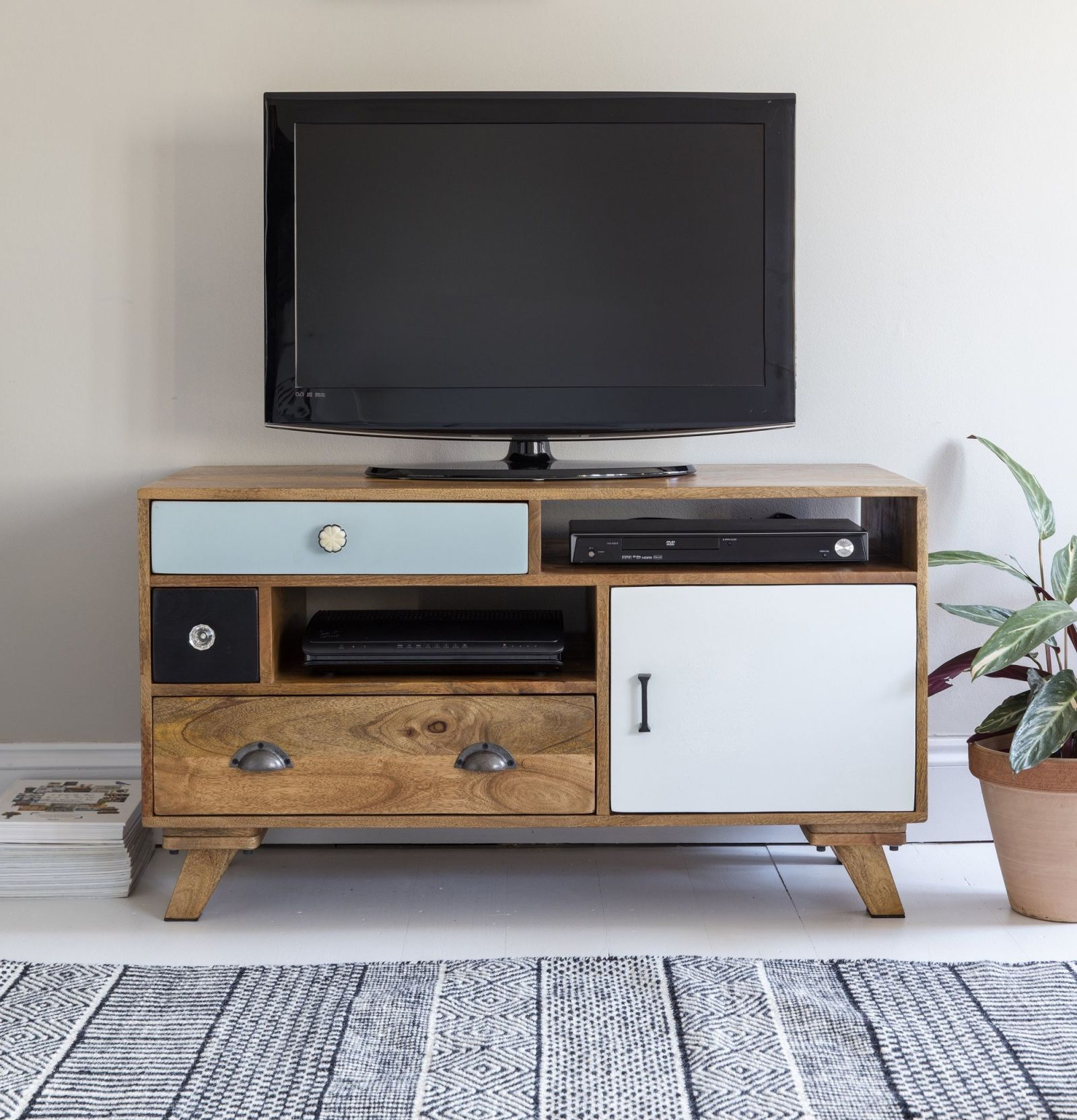 Milligan Retro Media Unit Atkin and Thyme & Living room storage solutions: media units wall-mounted shelves ...