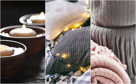 Hygge - candles, fairy lights and blankets
