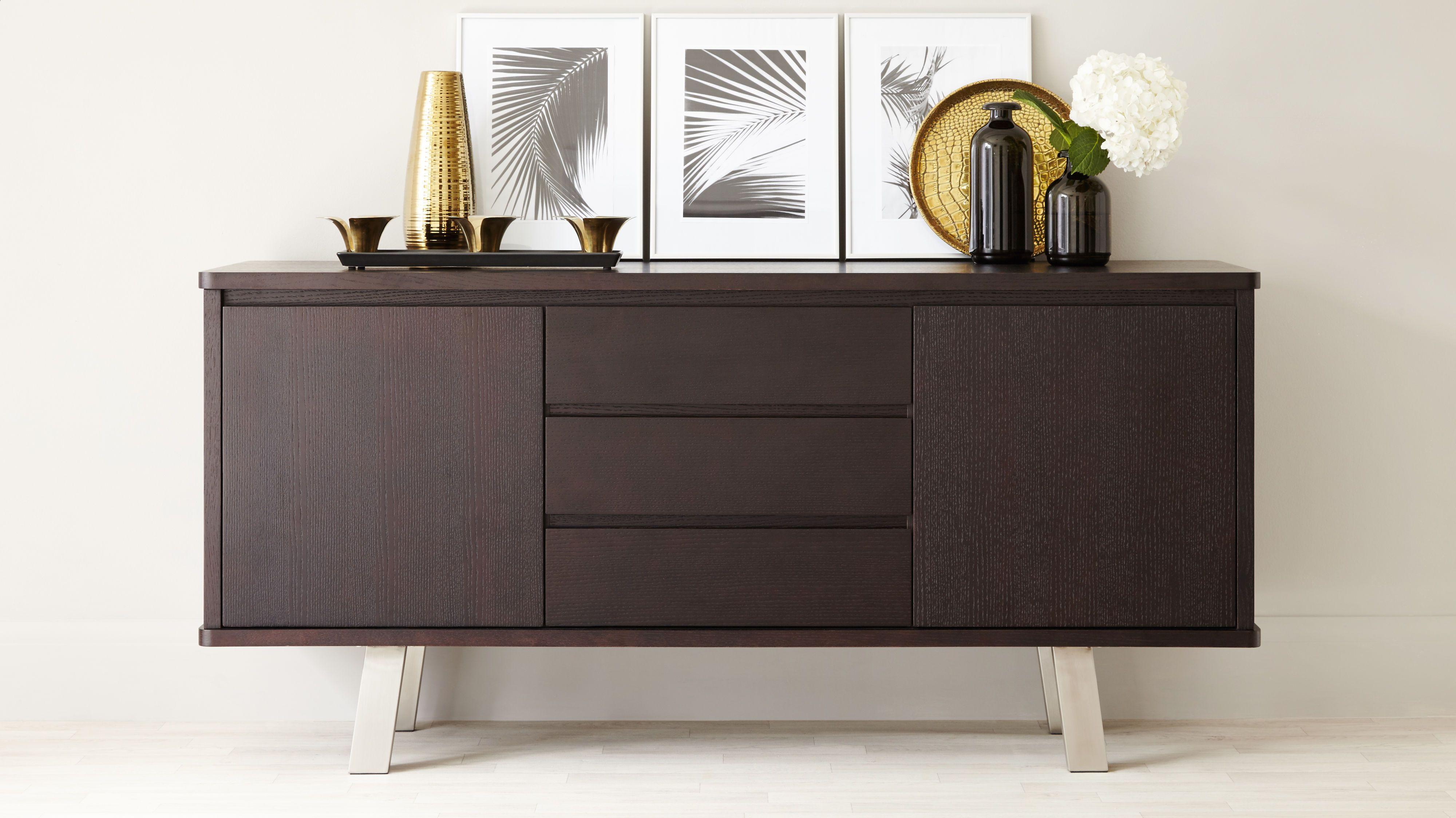 Credenza Dark Wood : Holcomb gold accent credenza cabinets dark wood