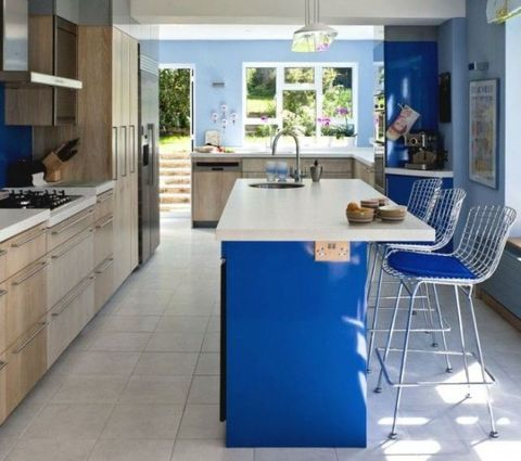 Blue, Room, Floor, Interior design, Property, Plumbing fixture, Flooring, Countertop, Furniture, Home,