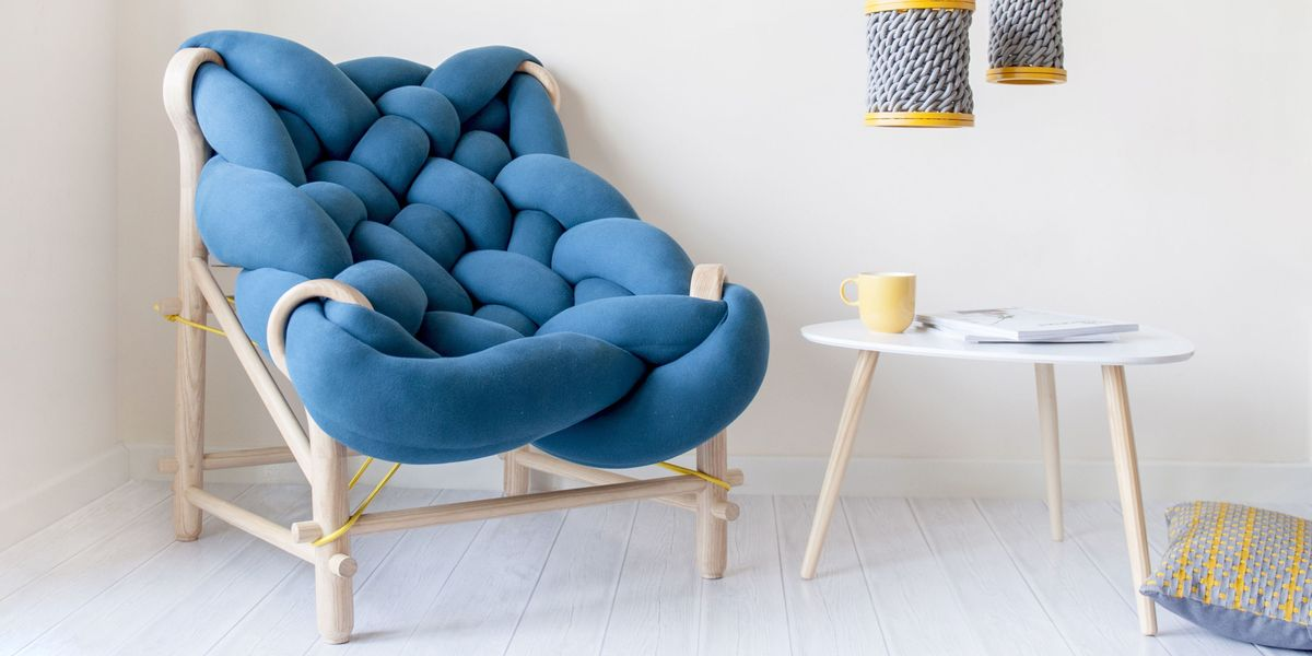 This chunky woven chair merges comfort with contemporary design
