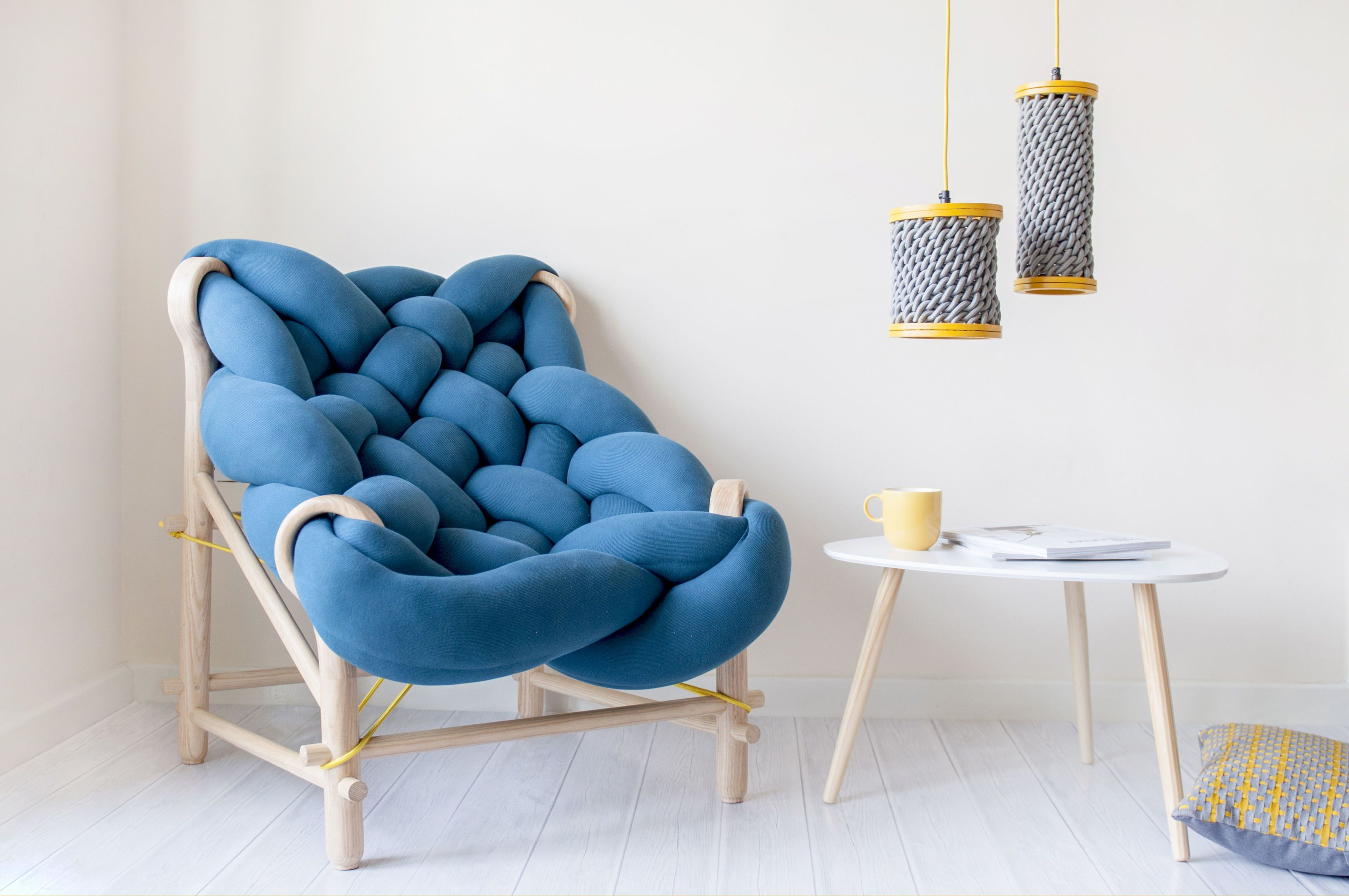 Woven chair of overstuffed knit tubes merges comfort with
