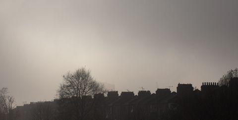 Overcast sky above terraced houses