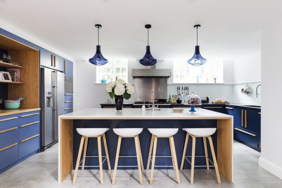 Kitchen With Modern Design In Blue And White Colours