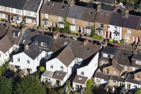 Aerial view of North London houses