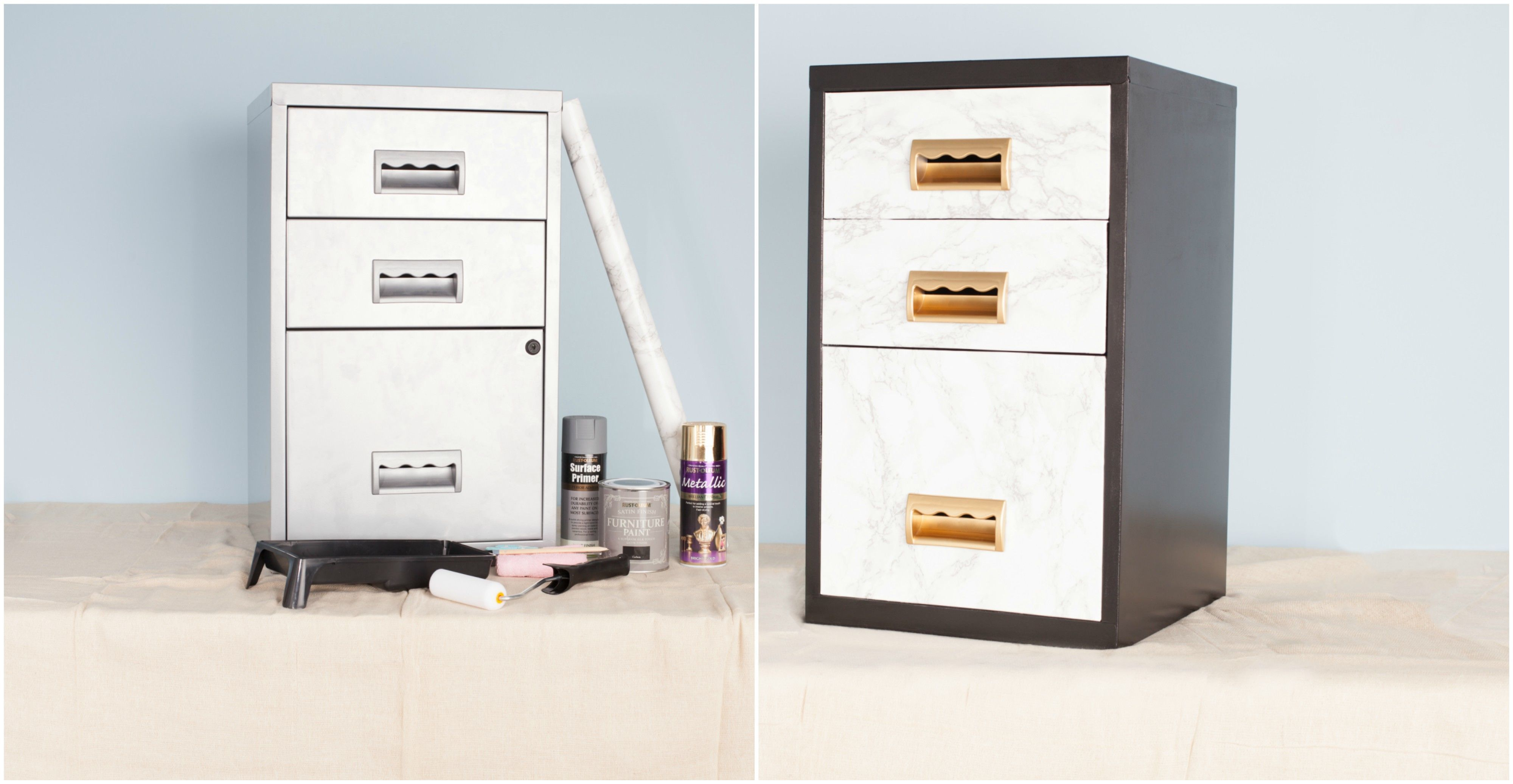 Filing cabinet and storage system - before and after & Transform a metal filing cabinet into a stylish set of storage drawers