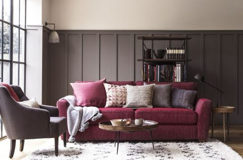 House Beautiful Collection With Dfs Sophia Sofa In Mulberry