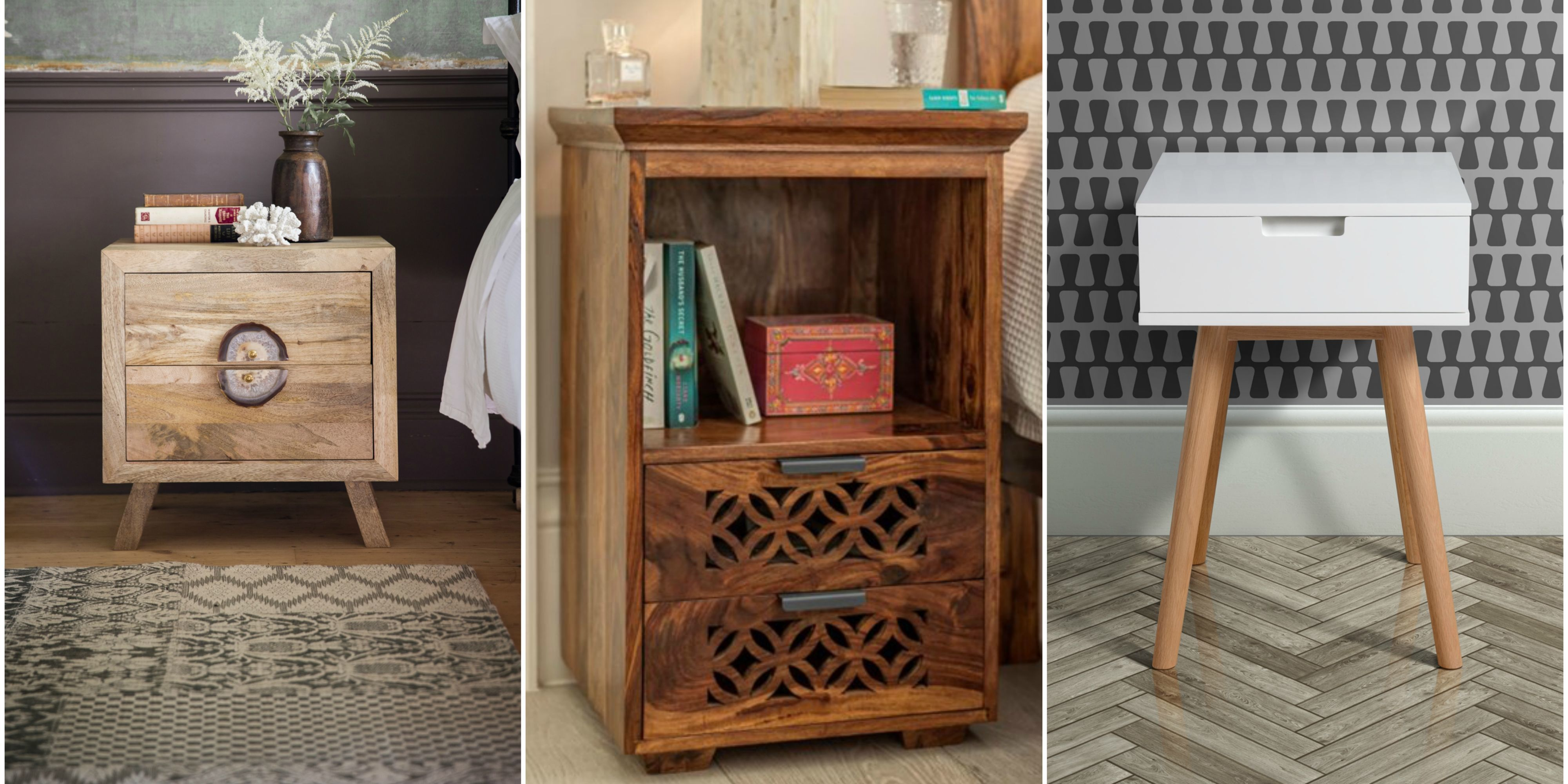 Take a look at these beautiful bedside tables and cabinets ranging from Scandi style to wooden handcrafted designs. & Best nightstands to add character to your bedroom
