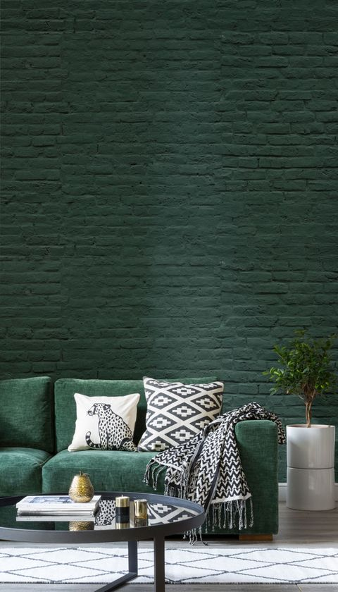 Green brick wallpaper by Murals Wallpaper