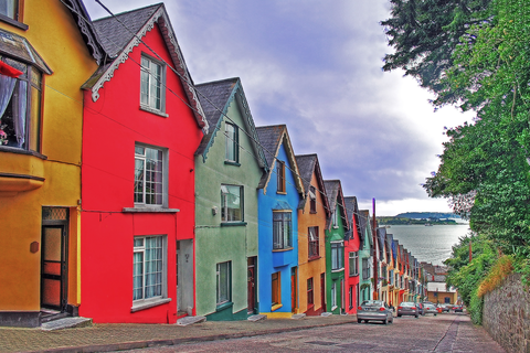 Colourful painted houses in Cobh. Cobh was one of last ports of call of Titanic.