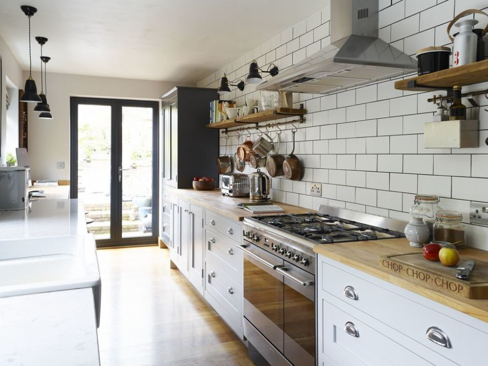 & This Shaker-style galley kitchen merges vintage with contemporary