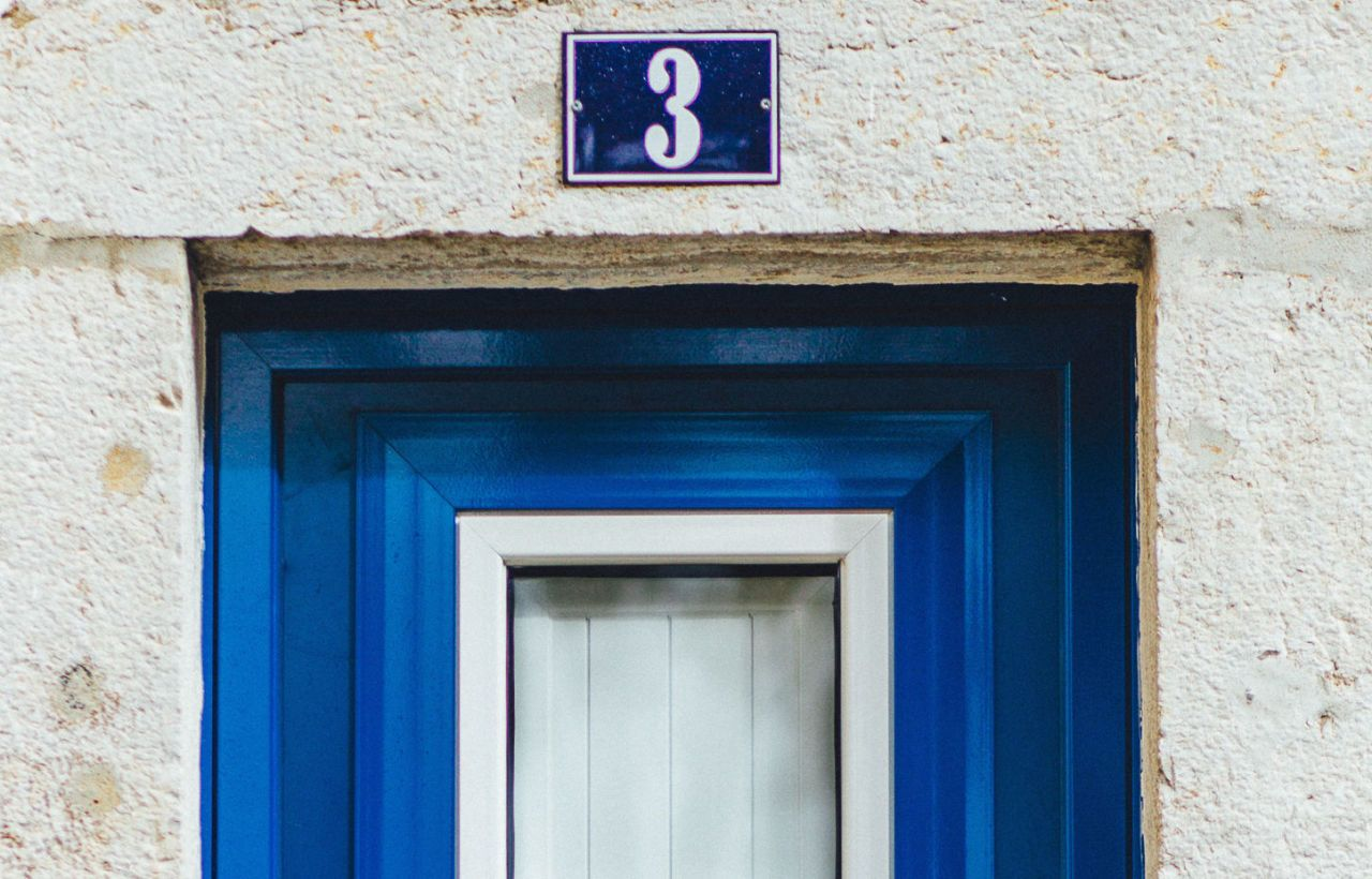 Door number three (3) - blue door & Buying a house? The most popular door numbers revealed