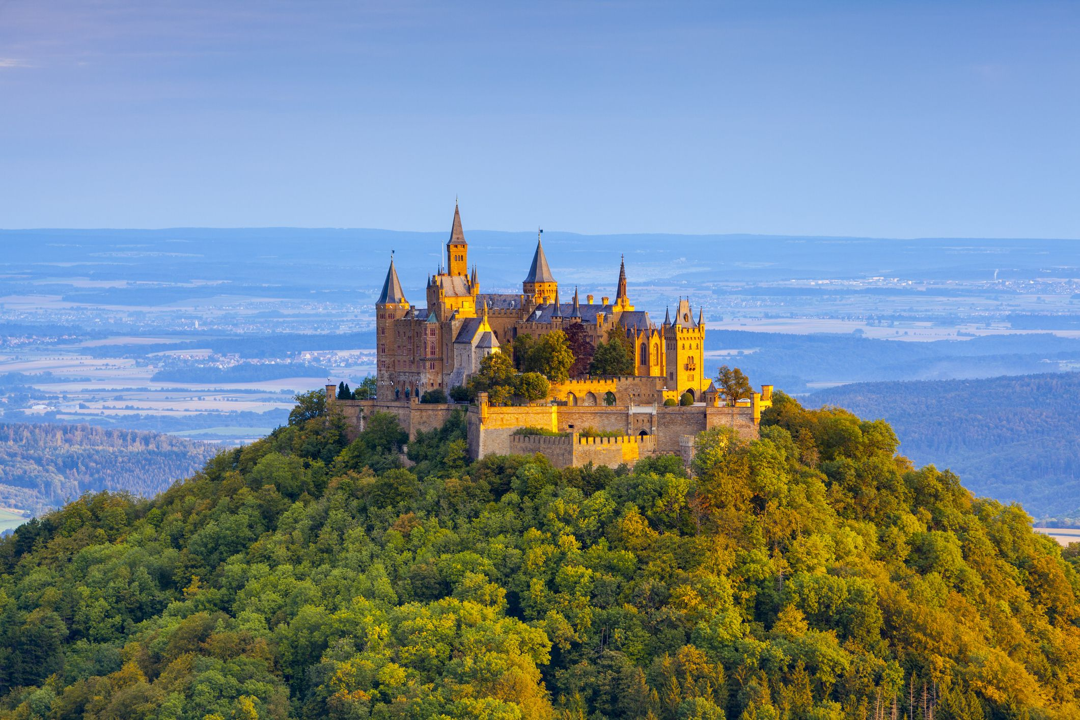 Germany, Baden-Wurttemberg, Swabia, View of Hohenzollern Castle on green hill