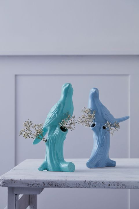 Quirky vases and planters: The Contemporary Home, Blue and Green Bird vases