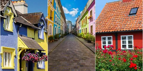 Colourful houses collage