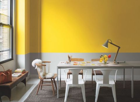 Grey Yellow Benjamin Moore Lifestyle Dining Room Image