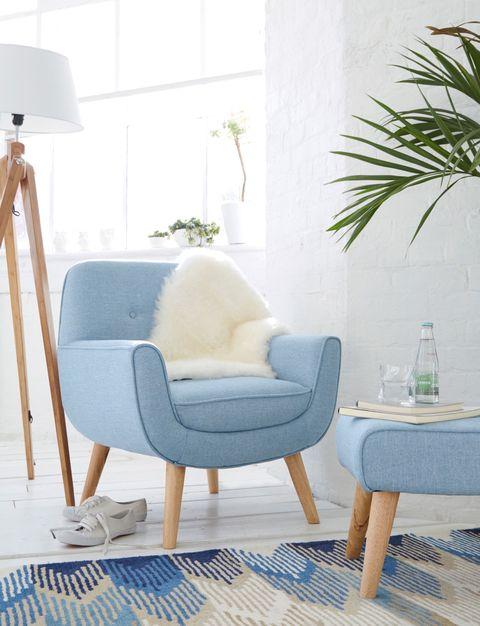 Chair £199, Footstool £59, Throw £20, Floor Lamp £119, www.kaleidoscope.co.uk