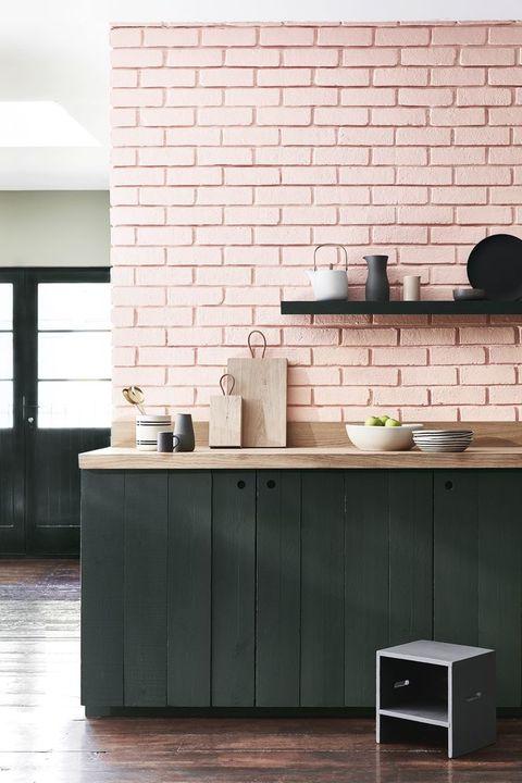 Little Greene Pink Walls In Kitchen