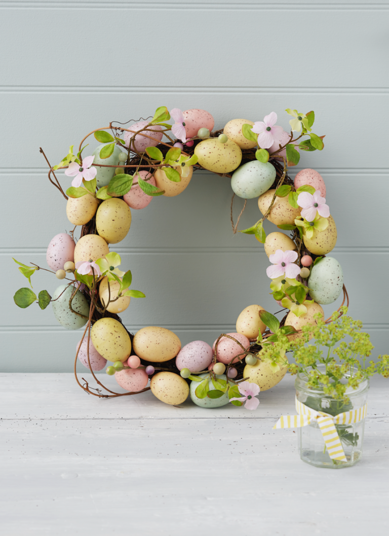 egg and flower easter wreath - Easter Wreaths