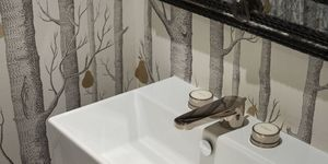 Cole & Son's 'Woods & Pears' wallpaper, Catalano Ceramics from Farmiloes