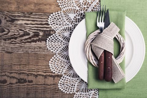 Rustic Easter place setting on a rustic wooden table