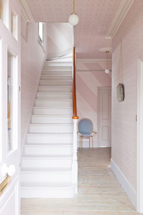 Hallway - wallpaper on the ceiling: Wonder Pink Wallpaper, 2 Lovely Gays x Graham & Brown