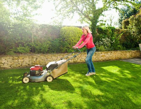 mowing with lawn mower