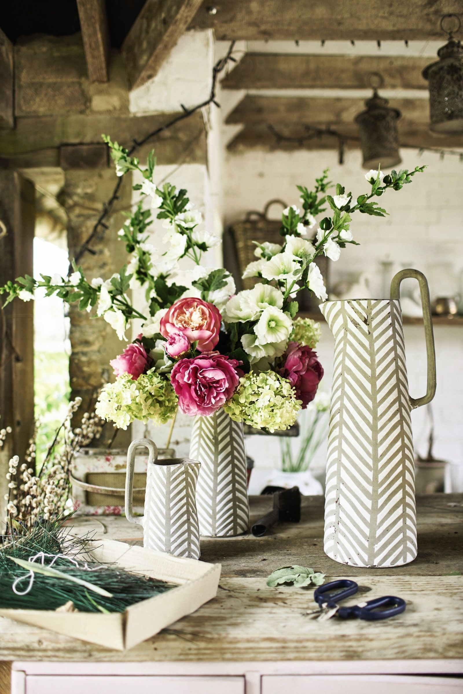 Faux flowers - Oxberry Hollyhock Willow Crossley for OKA & How to style artificial flowers and plants at home
