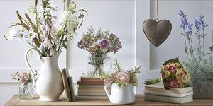 John Lewis, Artificial Peony Purple Flowers in Glass Bottle Vase