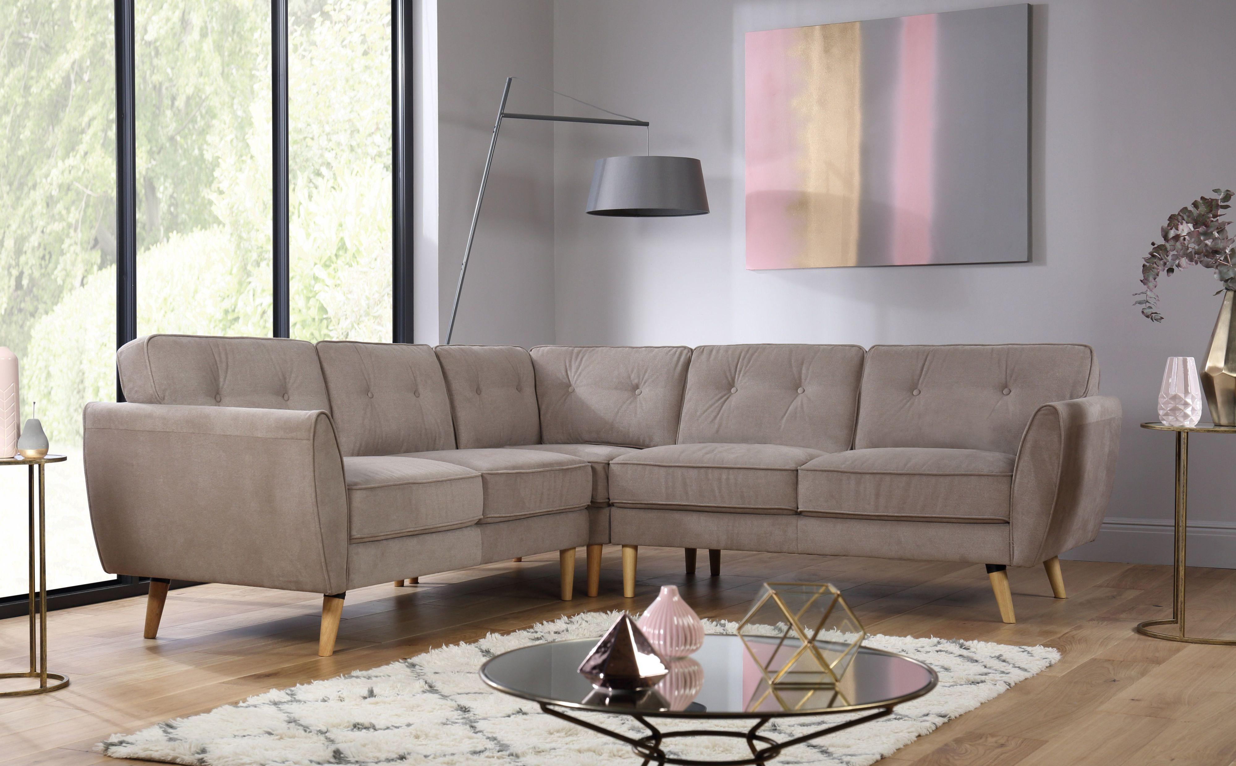 Harlow Beige Fabric Corner Sofa
