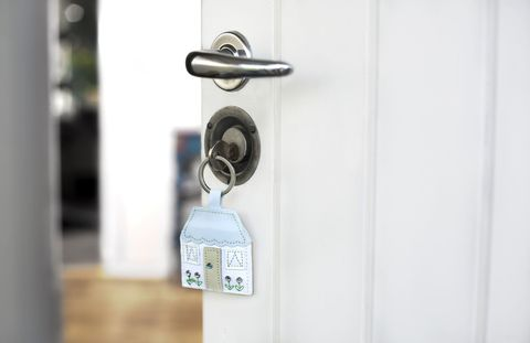 Key and keychain with a house