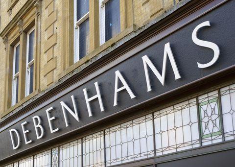 Debenhams department store logo, England, UK
